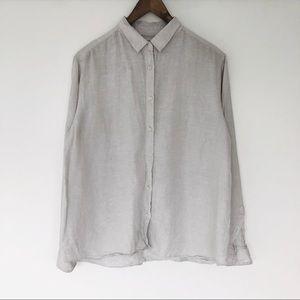 Uniqlo Premium linen shirt in light grey
